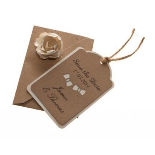 Bow Tie - Vintage Cream & Brown kraft save the date luggage tags