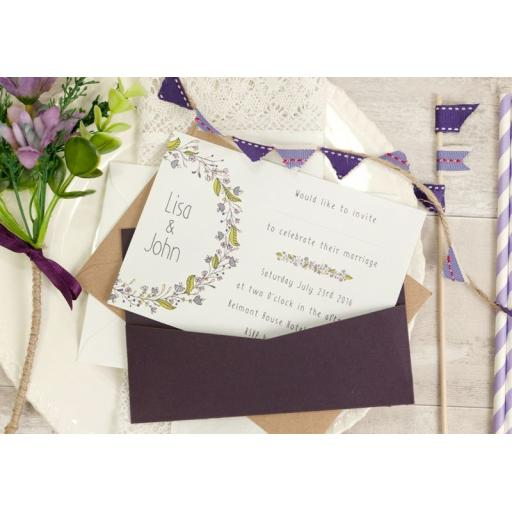 Floral Wreath PLUM A6 LANDSCAPE printed Wedding Invitations & envelopes x 50