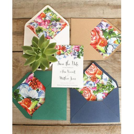Botanical Blooms Save the Date Luggage Tags and Envelopes x 25 (colour set 1)