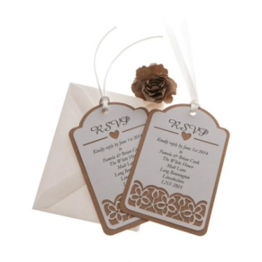 White Card ( on brown kraft) RSVP luggage tags FLORAL CUT x 25