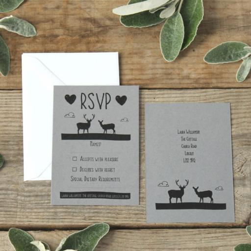 Whimsicle Stag - RSVP cards x 25 (grey)