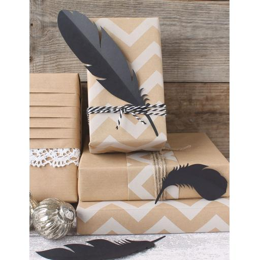 Card Feathers - BLACK mixed sizes x 9