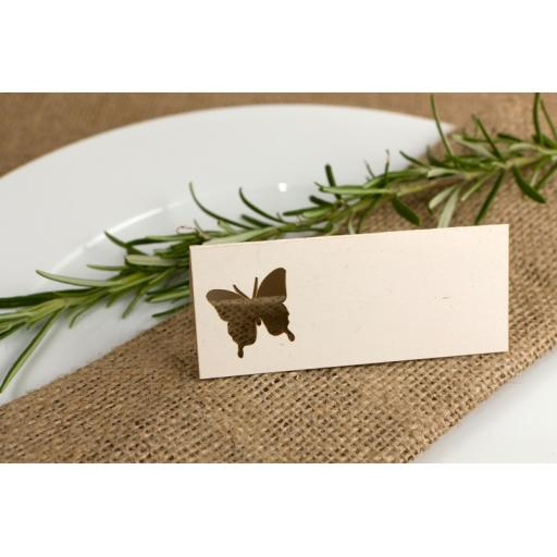 Place cards - Vintage CreamButterfly x50