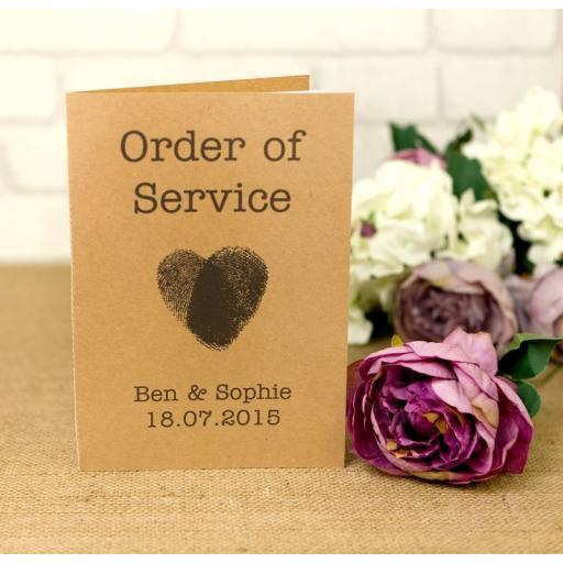 Fingerprint Collection - Order of service booklets x 50