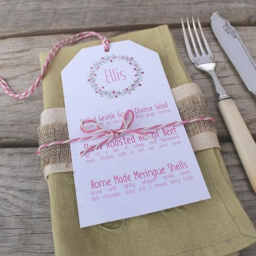 Floral Wreath - PINK wedding menu tags