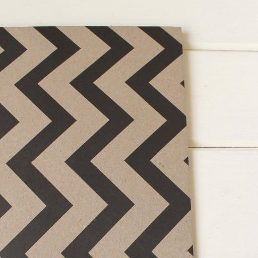 Kraft & Black Chevron Design Wrapping Paper