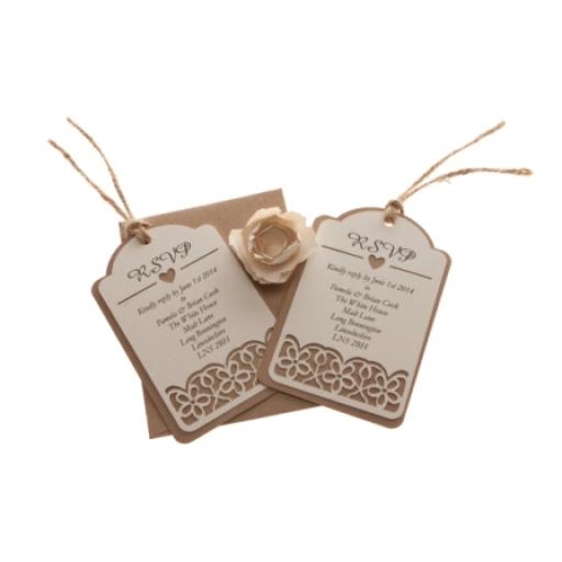 Vintage cream (on Brown) kraft card RSVP luggage tags FLORAL CUT x 25