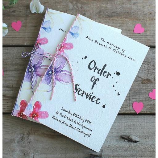 Watercolour pastel - Order of service booklets x 50