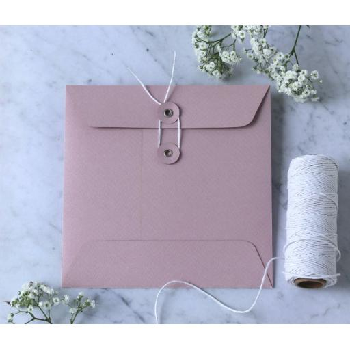 155mm Square BLUSH PINK String Button Envelopes x 25