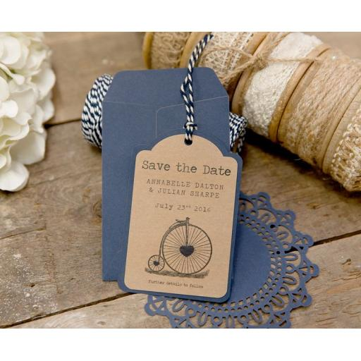 Vintage Bicycle Save the date tags x 25