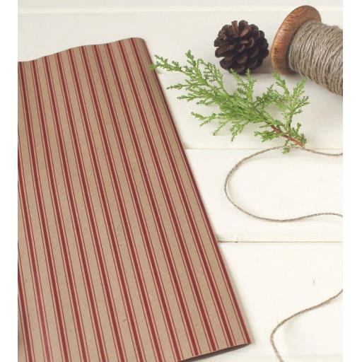 Ticking Stripe Christmas RED Wrapping Paper
