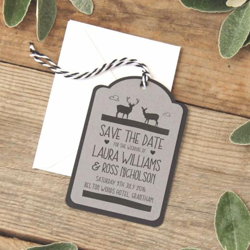 Whimsical stag luggage tags and Envelopes x 25 (design 2)