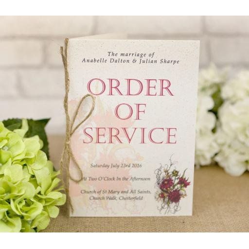 Botanical RED flower order of service booklets x 50