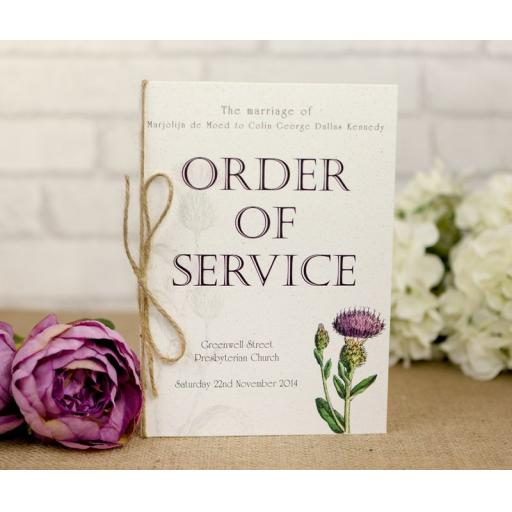 Botanical Thistle order of service booklets x 50