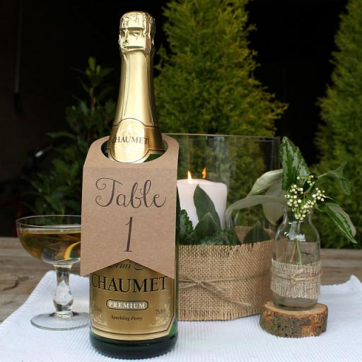 Wine Bottle Table Numbers (A5) numbers 1 -10