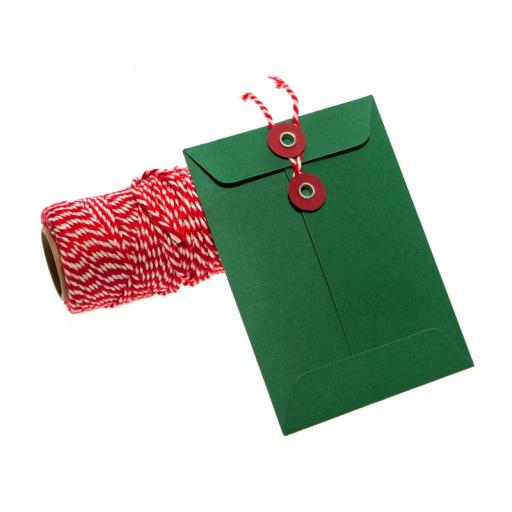 C6 FOREST GREEN String Tie Envelopes x 10