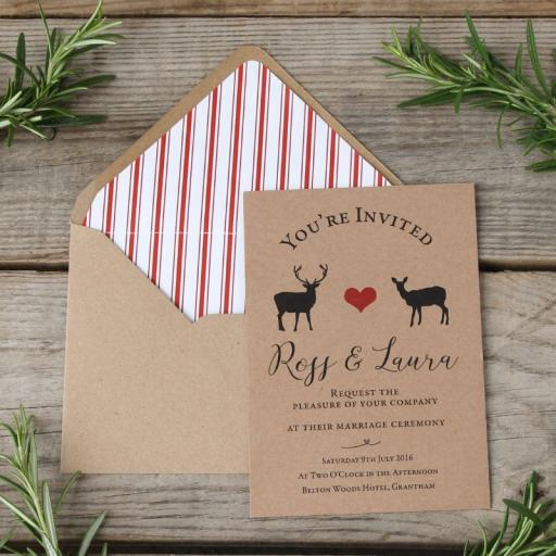 Modern Stag Invitations and lined envelopes x 25