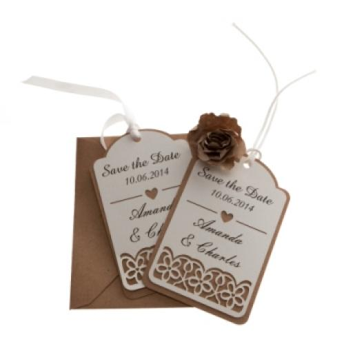 White card (on brown kraft) save the date luggage tags FLORAL CUT x 25