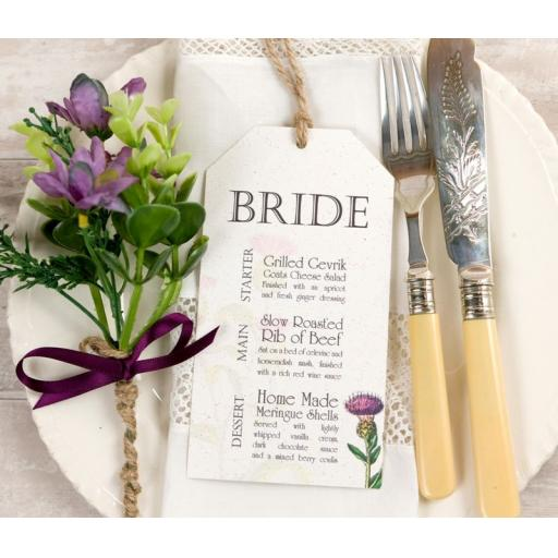 Botanical Thistle Wedding Menu tags