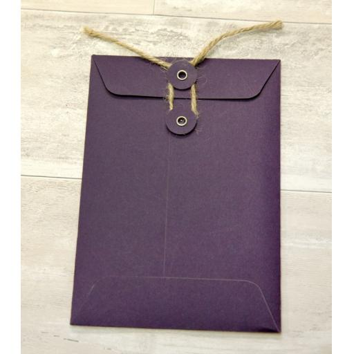 C6 PLUM String Tie Envelopes x 25