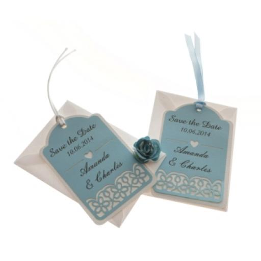 Pale Blue and White save the date luggage tags FLORAL CUT x 25
