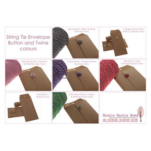 C6 WHITE card String Tie Envelopes x 25