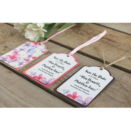 Watercolour pastel Save the Date Luggage Tags and Envelopes x 25