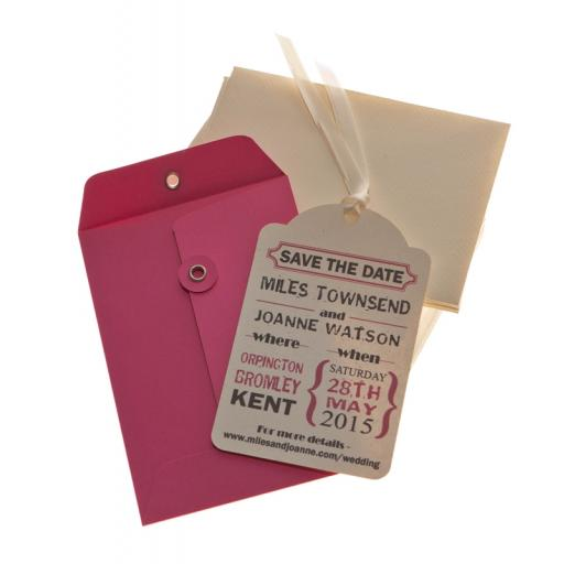Cerise pink & Cream Save the Date Luggage tags and Envelopes x 25( Vintage Range)