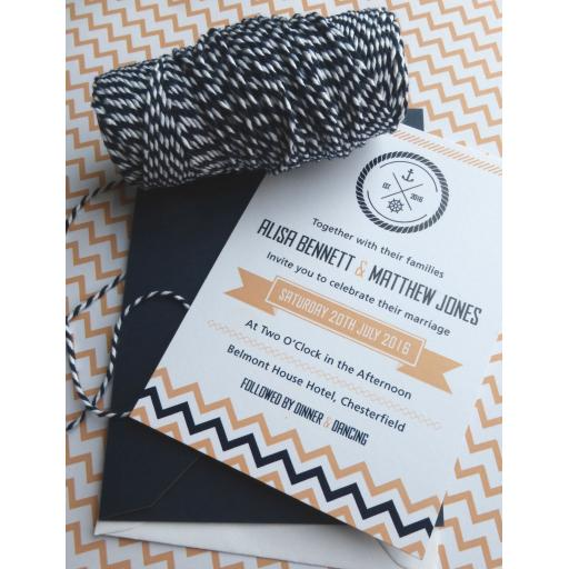 Chevron design - full A6 invitation set