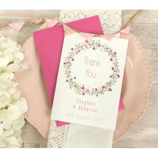 Floral Wreath PINK A6 personalised THANK YOU CARDS x 50 & envelopes