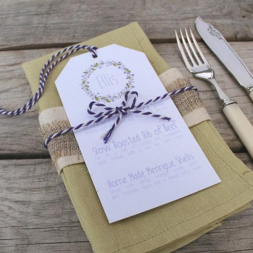 Floral Wreath PLUM wedding menu tags