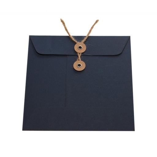 155mm Square NAVY String Tie Envelopes x 25