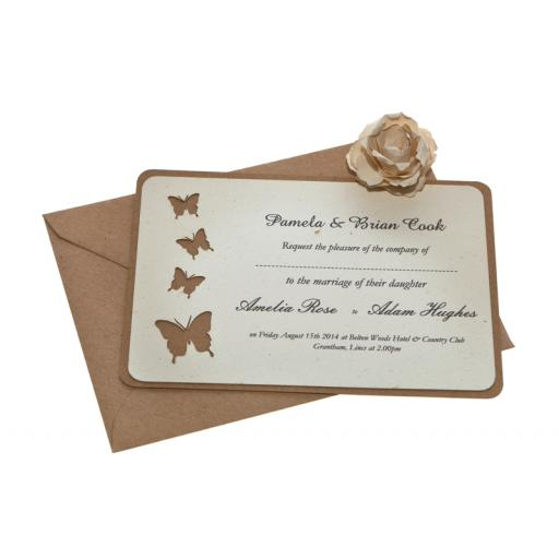 Butterfly - Vintage Cream & Brown kraft A6 Wedding Invitations (Set of 25)