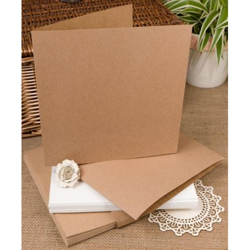 6 x 6 inch Brown Kraft Recycled folded cards with envelopes (25 pack)