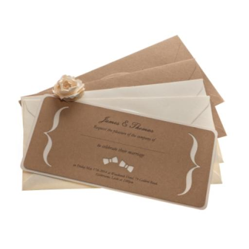 BOW TIE Brown kraft card Wedding Invitations - DL Size