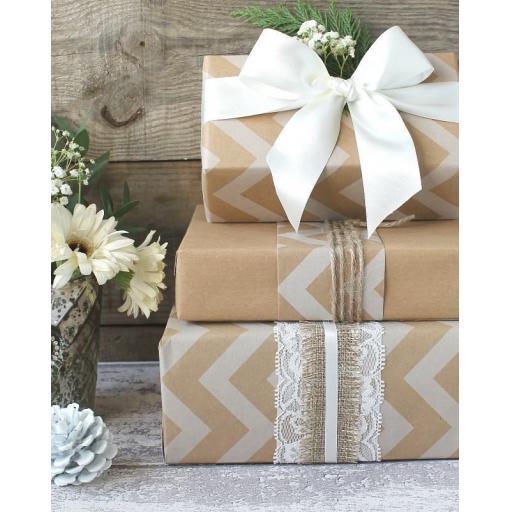 Kraft & White Chevron Design Wrapping Paper