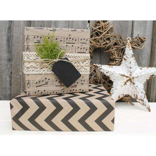 Black & Kraft Printed Wrapping Paper Kit