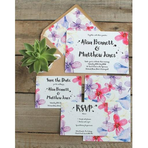 Watercolour pastel Invitations - full set x 25
