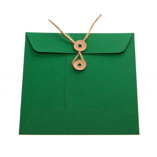 "5"" X 7"" forest green String Tie Envelopes x 25"