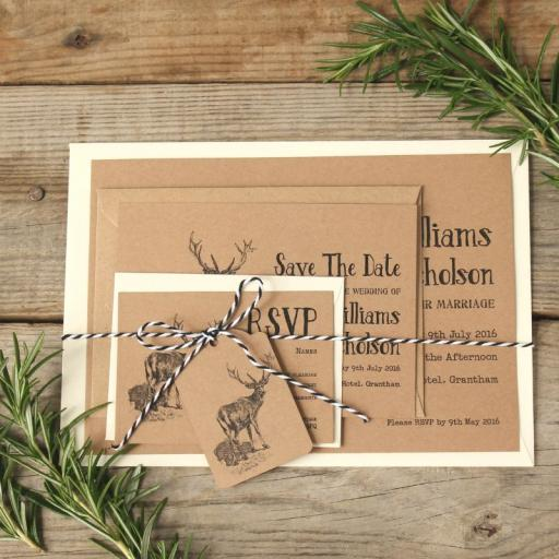 Vintage stag Invitations with plain envelopes x 25
