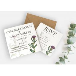 Botanical Thistle Wedding Invitation - full set x 25