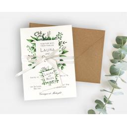 Greenery Botanical Leaf Invitations - full set x 25