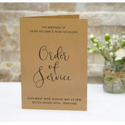 Calligraphy order of service booklets x 50