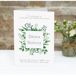 Greenery Botanical Leaf order of service booklets