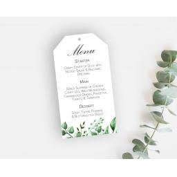 Greenery & Botanical Leaf Wedding Menu Tags