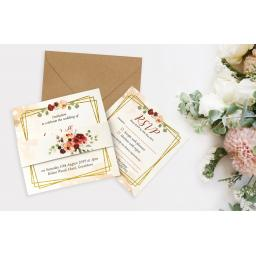 Blush & Burgundy Wedding Invitation - full set x 25