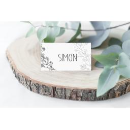 Floral Wreath personalised Place Cards x 50