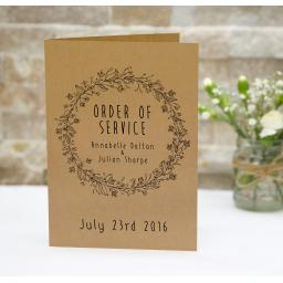 Floral Wreath order of service booklets x 50