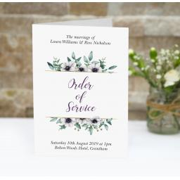Eucalyptus order of service booklets x 50