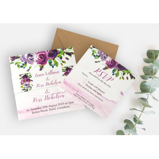 Plum Floral Wedding Invitations